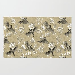 Flowers and Flight in Monochrome Golden Tan Rug