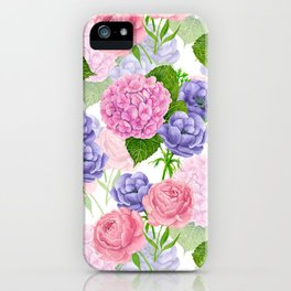 Watercolor floral pattern iPhone Case