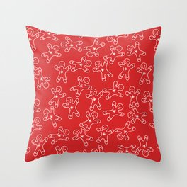 Sweet Red White Christmas Ginger Bread Man Throw Pillow