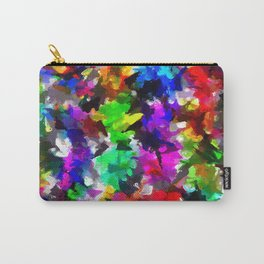 psychedelic splash painting abstract texture in pink blue green yellow red black Carry-All Pouch