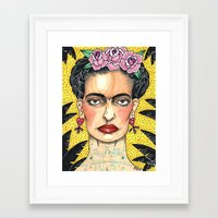 frida khalo Framed Art Prints featuring Frida Khalo by Laura Pato
