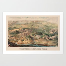 Vintage Pictorial Map of Yellowstone Park (1904) Art Print
