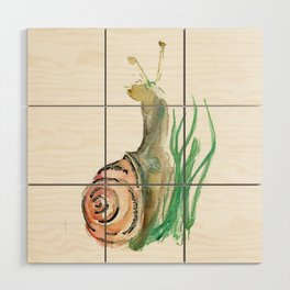 Searching - Watercolor and Gold Leaf Snail Wood Wall Art