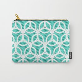 Bright Turquoise and White circle pattern Carry-All Pouch