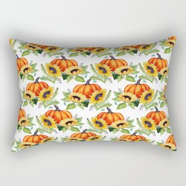 Pumpkin, sunflower, Fall berry, bee and moth Thanksgiving art Rectangular Pillow