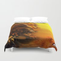 fierce Duvet Covers featuring Fierce by Armored Collective