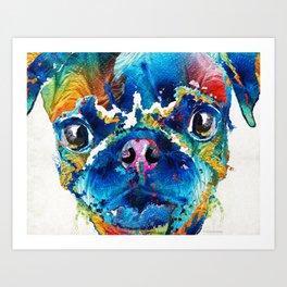 Colorful Pug Art - Smug Pug - By Sharon Cummings Art Print