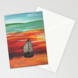 Sailboat at Sea During Sunrise Stationery Cards