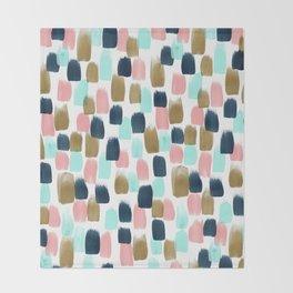 Pink, Mint, Navy & Gold Abstract Print, Nursery Art, Little Girls Room Throw Blanket