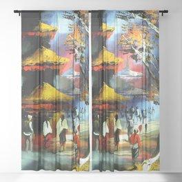 Panoramic Night View Of Nyatapola Temple Sheer Curtain