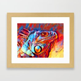 Iguana Watercolor Framed Art Print
