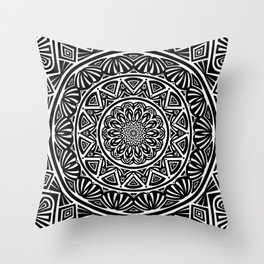 Black and White Simple Simplistic Mandala Design Ethnic Tribal Pattern Throw Pillow
