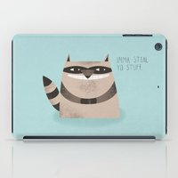 sandra dieckmann iPad Cases featuring Sneaky Raccoon by Chase Kunz
