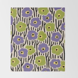 Mid Century Modern Wild Flowers Pattern Purple and Green Throw Blanket