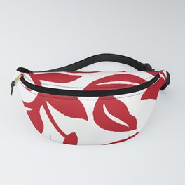 LEAF PALM VINE IN RED AND WHITE PATTERN Fanny Pack