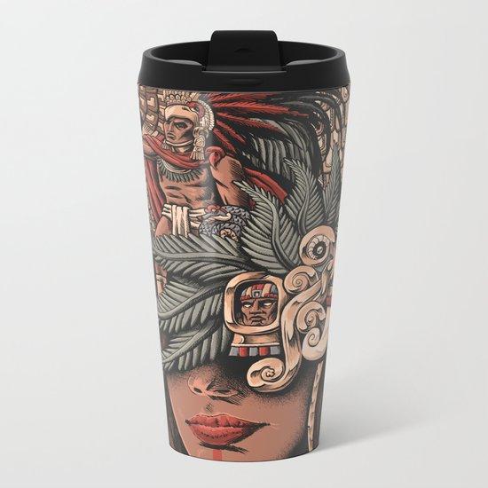 Aztec Eagle Warrior Metal Travel Mug
