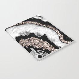 Gray Black White Agate with Rose Gold Glitter #1b #gem #decor #art #society6 Notebook