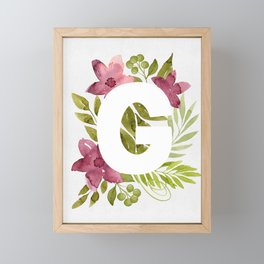 Monogram G with red waercolor flowers and green leaves. Floral letter G. Botanical illustration. Framed Mini Art Print