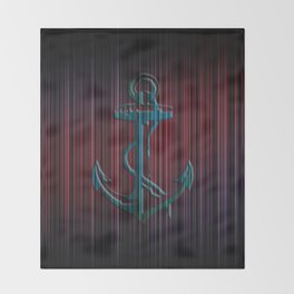 Blue Anchor With Stripes Colorful Throw Blanket