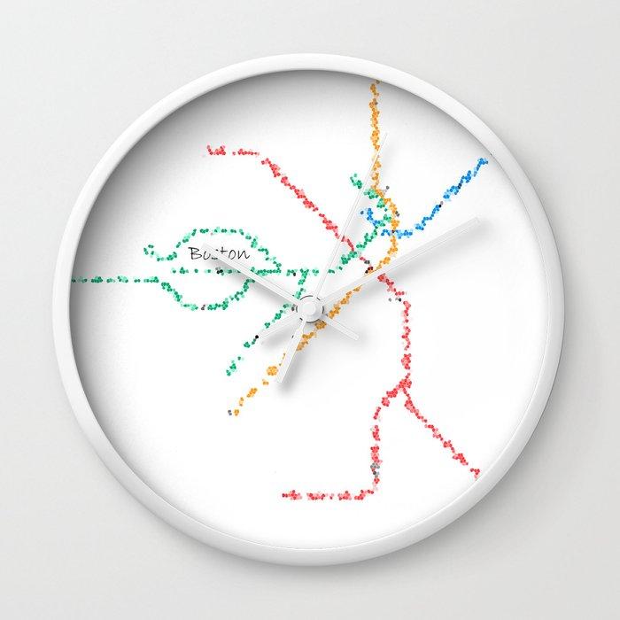 Subway Map Art Boston.Boston Subway Map Art Wall Clock