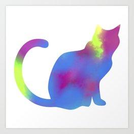 Rainbow Paint Kitty Art Print