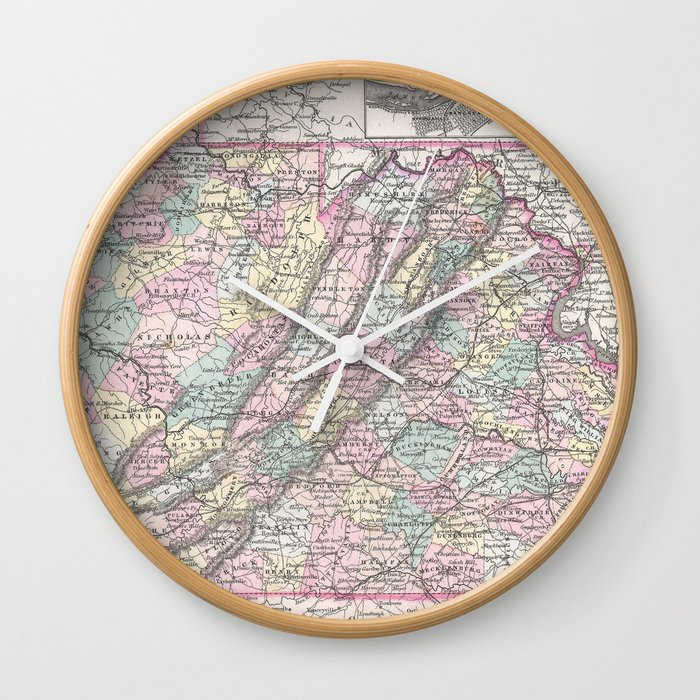 Vintage Map Of Virginia 1855 Wall Clock By Bravuramedia