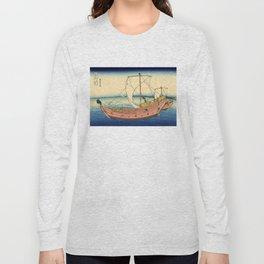"""Hokusai (1760–1849) """"The Kazusa Province sea route"""" Long Sleeve T-shirt"""