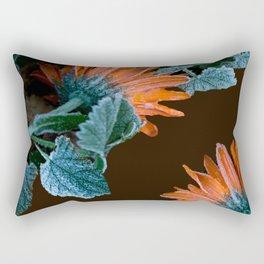 Frozen Orange Flowers on Dark Background #decor #society6 #buyart Rectangular Pillow