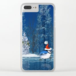 Christmas Blue Bird On Ice Clear iPhone Case
