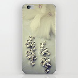 Diamnond / Crystal Earrings and feather flower iPhone Skin