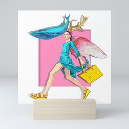 Angel and blue whale Mini Art Print