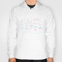 washington dc Hoodies featuring Washington, DC Illustrated Calligraphy Map by Megan Kelso