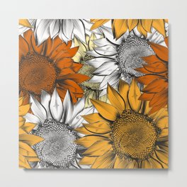 Beautiful pattern from hand drawn sunflowers Metal Print