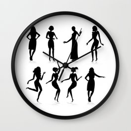 Female silhouette set Wall Clock
