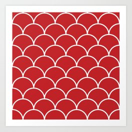 Scales - red Art Print
