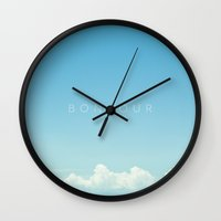 bonjour Wall Clocks featuring Bonjour by Galaxy Eyes