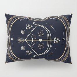Sagittarius Zodiac Golden White on Black Background Pillow Sham