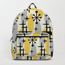 Retro Mid Century Modern Cosmic Surfer Pattern 231 Gray and Yellow Backpack