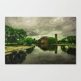 Cloudy day on the river  Canvas Print
