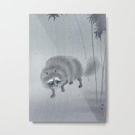 Raccoon Near Bamboo Trees - Traditional Japanese Woodblock Print Art Metal Print