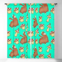 Fall season. Cute happy llamas and funny whimsical little mushrooms seamless pattern design Blackout Curtain