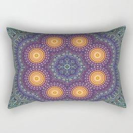 8 Suns Circular Bohemian Geometric Thread Weave Pattern \\ Yellow Green Blue Purple Color Scheme Rectangular Pillow