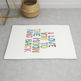 I Love You To The Moon and Back Watercolor Rainbow Design Inspirational Quote Typography Wall Decor Rug