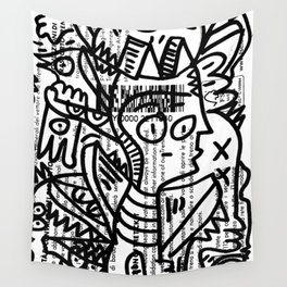Black and White Street Art Creatures on Italian Train Ticket Wall Tapestry
