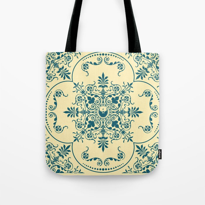 Decorative Pattern in Creme and Blue Tote Bag