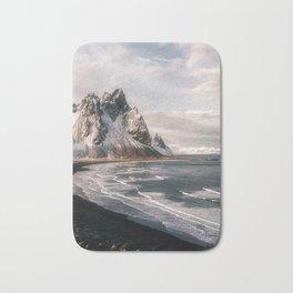 Stokksnes Icelandic Mountain Beach Sunset - Landscape Photography Bath Mat