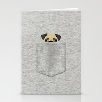 pocket Stationery Cards featuring Pocket Pug by Anne Was Here