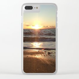 Sunset on The Beach In Torre Delle Stelle Clear iPhone Case