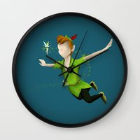 peter pan Wall Clocks featuring Peter Pan by JackEmmett