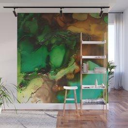 Melting Crystals, Green, Yellow, Brown an Aqua Wall Mural
